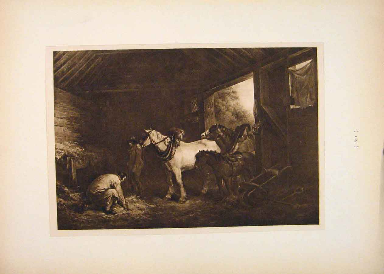 Print Inside Stable Sepia Style Fine Art George Morland 196751 Old Original