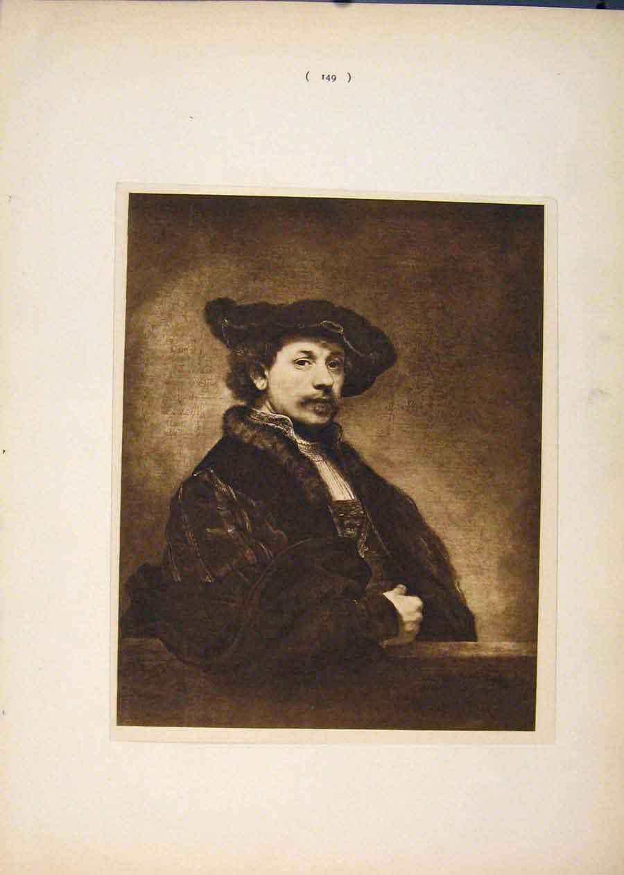 Print Sepia Style Art Own Portrait Rembrandt 496751 Old Original