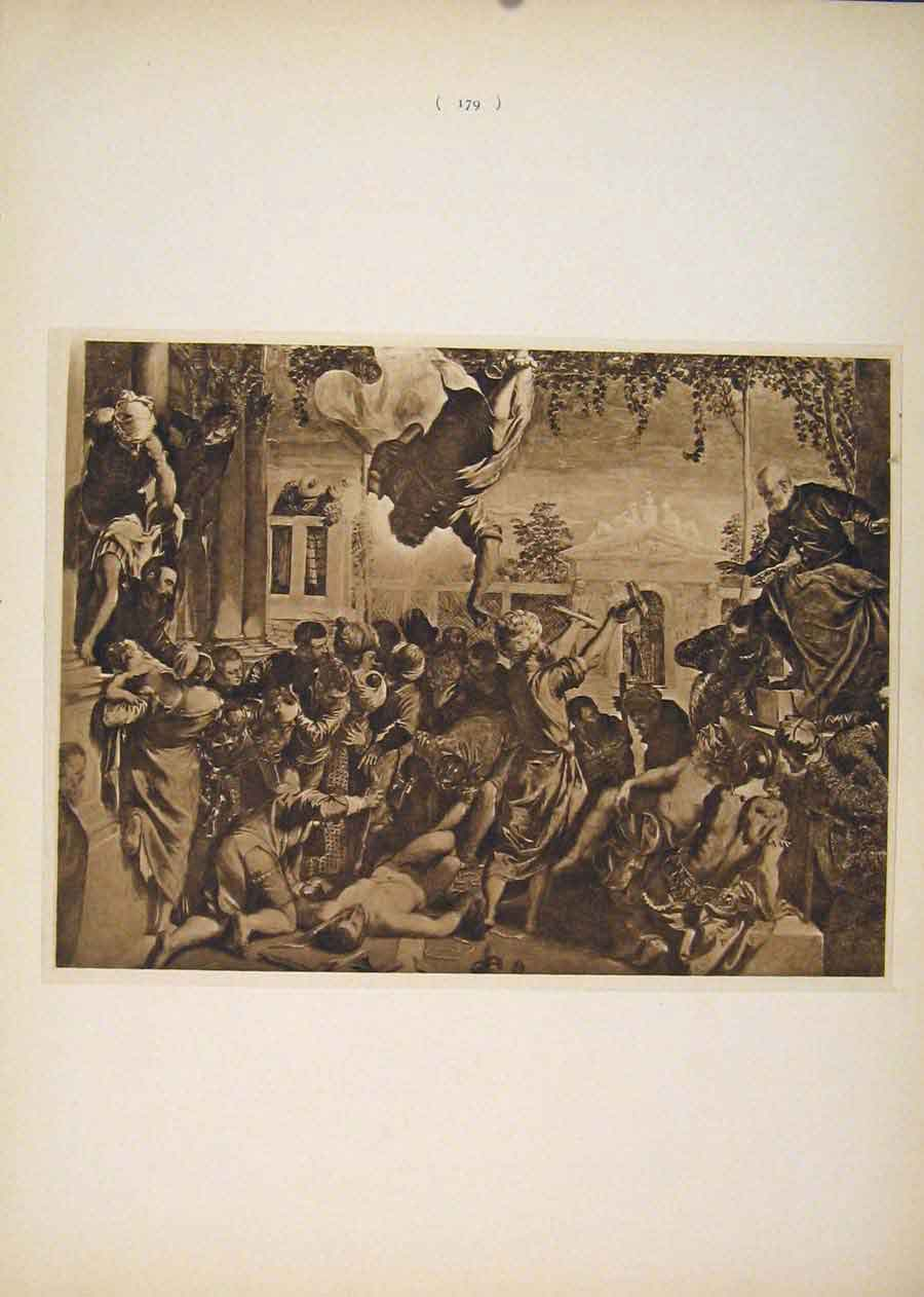 Print Miracle St Mark Tintoretto Fine Art Sepia Style 796751 Old Original