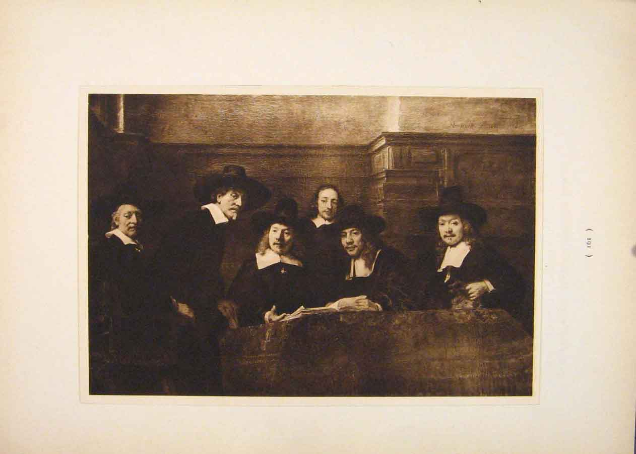 Print Syndics Cloth Hall Rembrandt Sepia Style 916751 Old Original