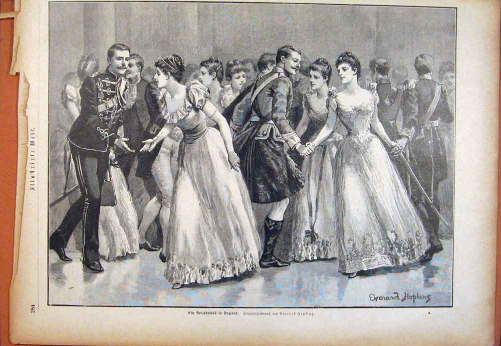 Print Sketch Drawing Fancy Ball Party Art 146781 Old Original