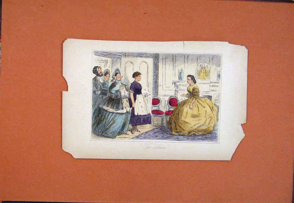 Print Ladies Hand Colored Drawing John Leech 716781 Old Original
