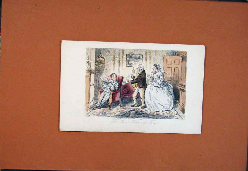 Print John Leech Hand Colored Mere Matter Form Drawing Art 796781 Old Original