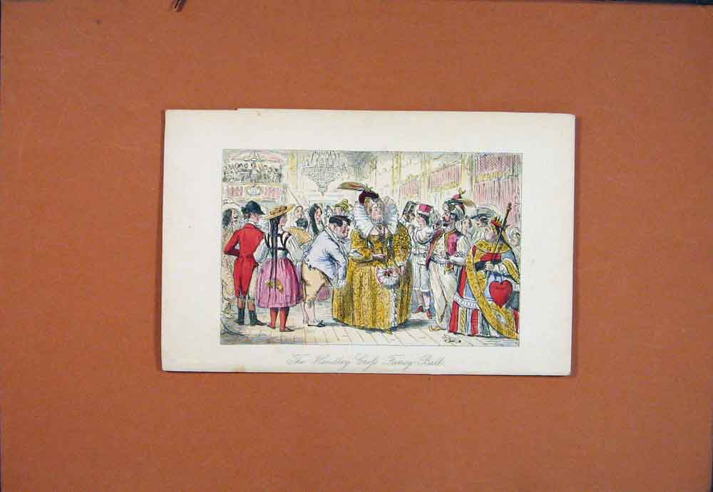 Print John Leech Hand Colored C1850 Handley Crofs Fancy Ball 946781 Old Original