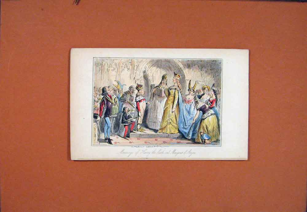 Print Marriage Henry Sixth Margret John Leech 016781 Old Original
