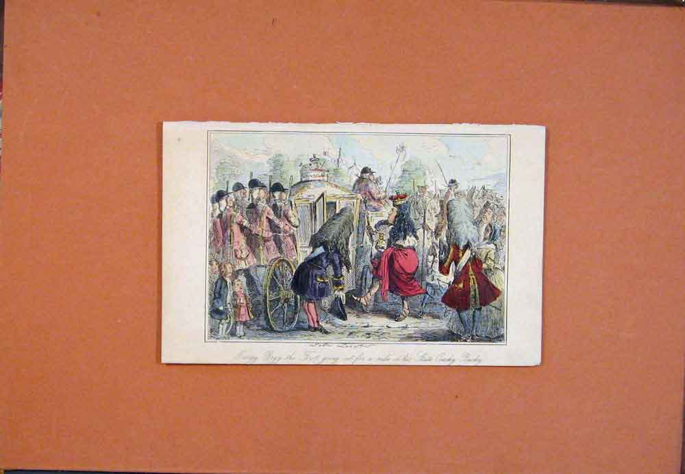 Print Georgy Porgy State Coachy John Leech Hand Colored Art 056781 Old Original