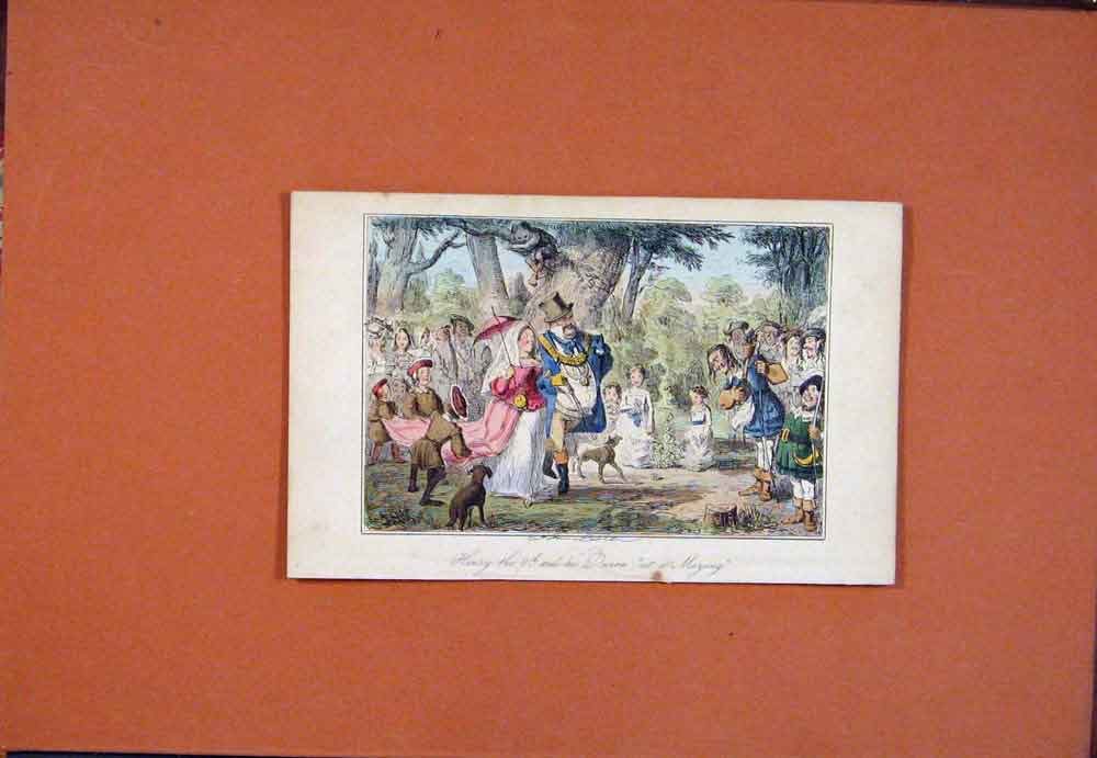 Print C1850 Henry 8Th Queen Maying John Leech Colored Hand 106781 Old Original