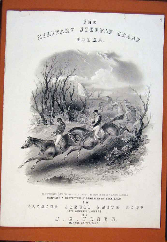 Print Military Steeple Chase Horse Riding C1890 256781 Old Original