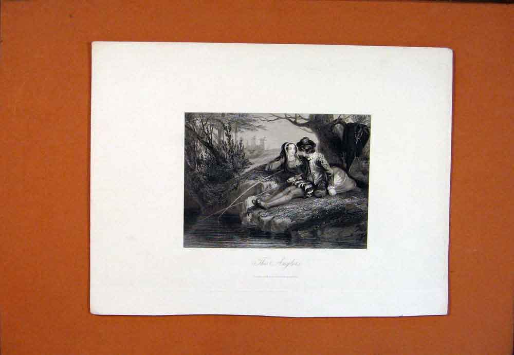 Print C1850 Anglers Fish Fishing Man Lady River Bank 536781 Old Original