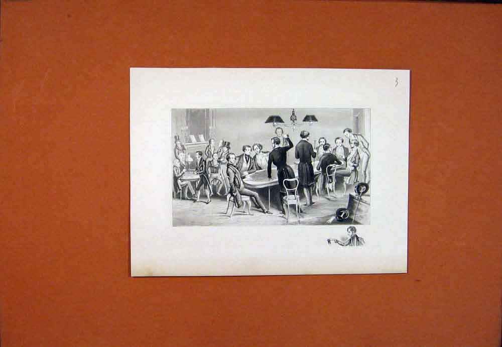 Print Men Drawing Room Sitting Table Diner 1850 566781 Old Original