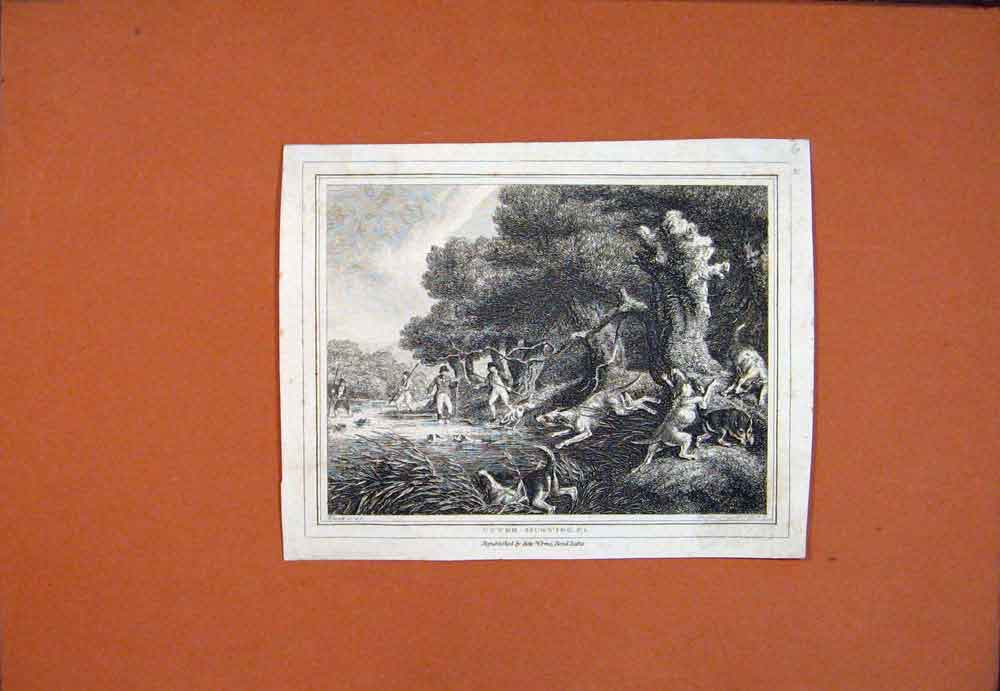 Print C1850 Otter Hunting Men Chase Fine Art 576781 Old Original