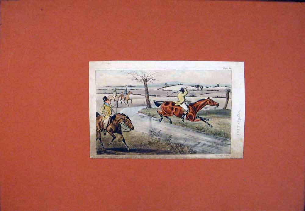 Print C1837 Horse Rider Chase Hunting Color Art Fine 636781 Old Original
