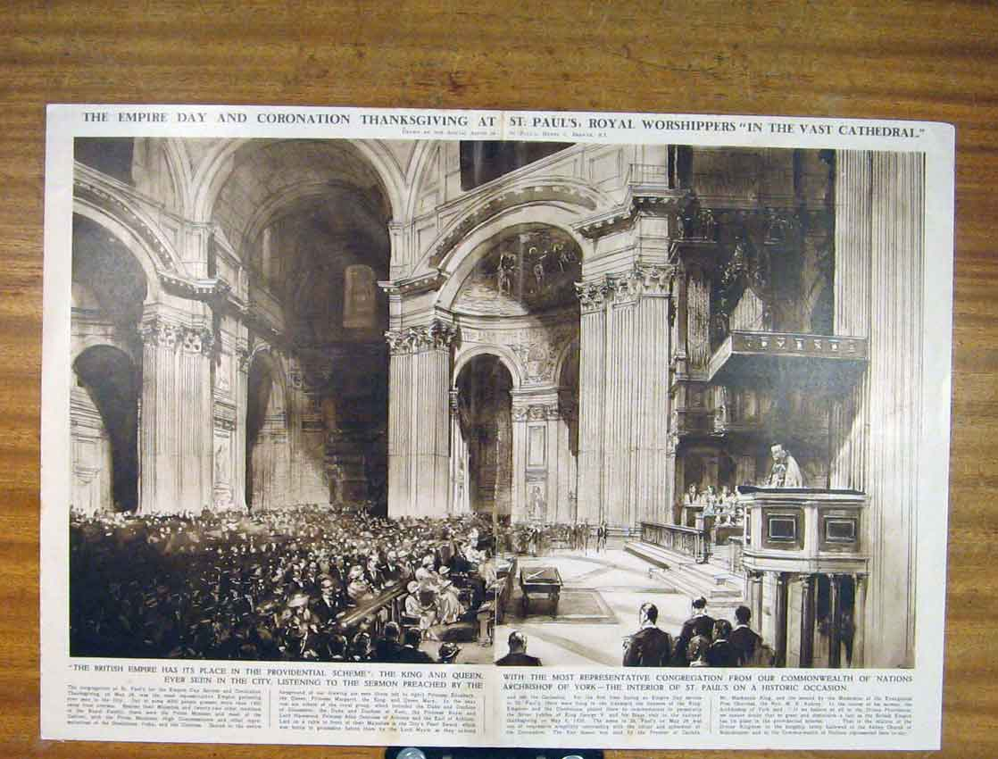 Print Empire Day Coronation St Pauls King Queen 186791 Old Original