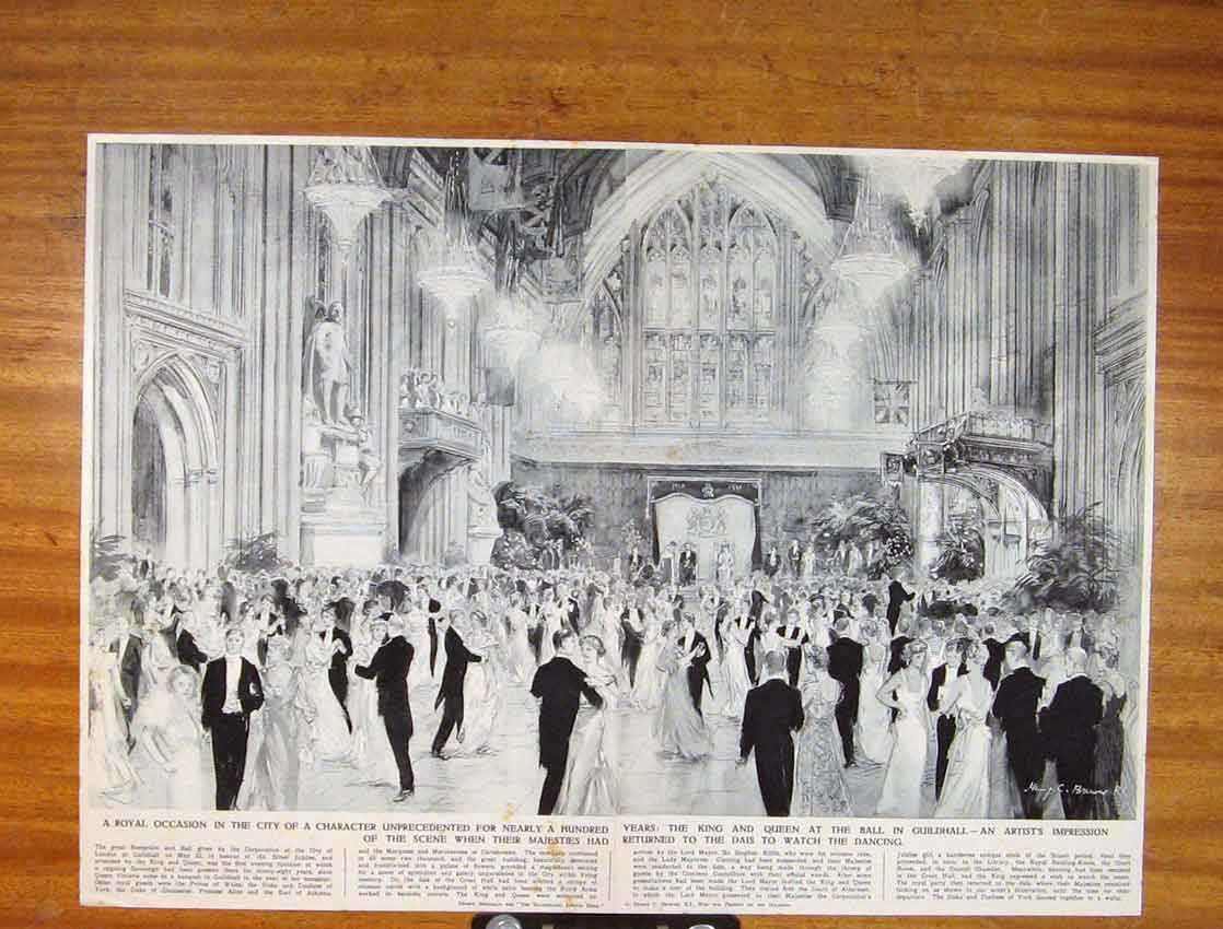 Print Roayl Occasion City Character King Queen Ball Guildhall 226791 Old Original