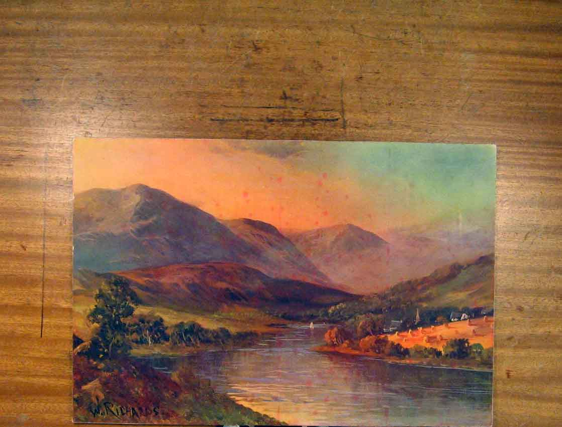 Print Landscape River Hill Sunset Richards Color Fine Art 646791 Old Original