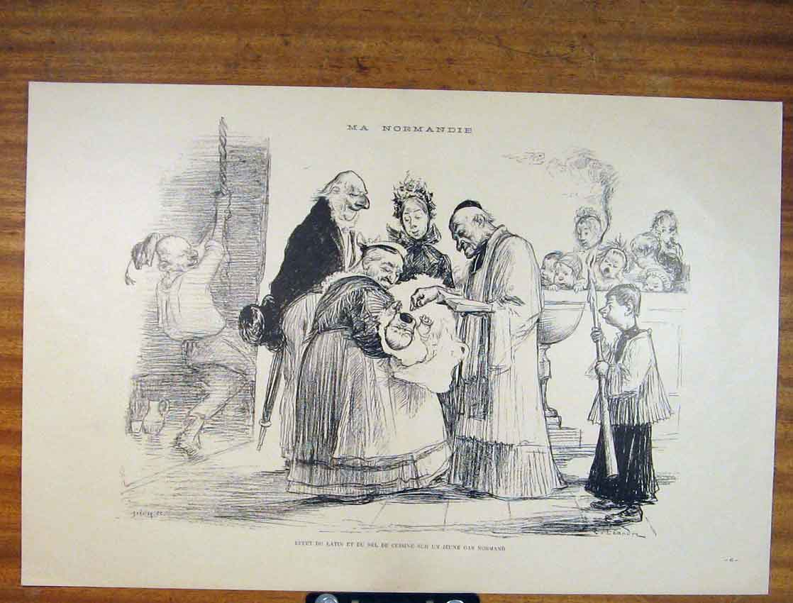 Print Ma Normandie French Sketch Baptise Art 916791 Old Original