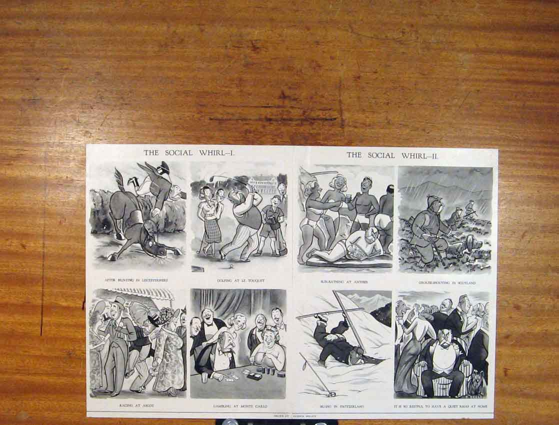 Print Social Whil Fine Art People Occasions 066791 Old Original