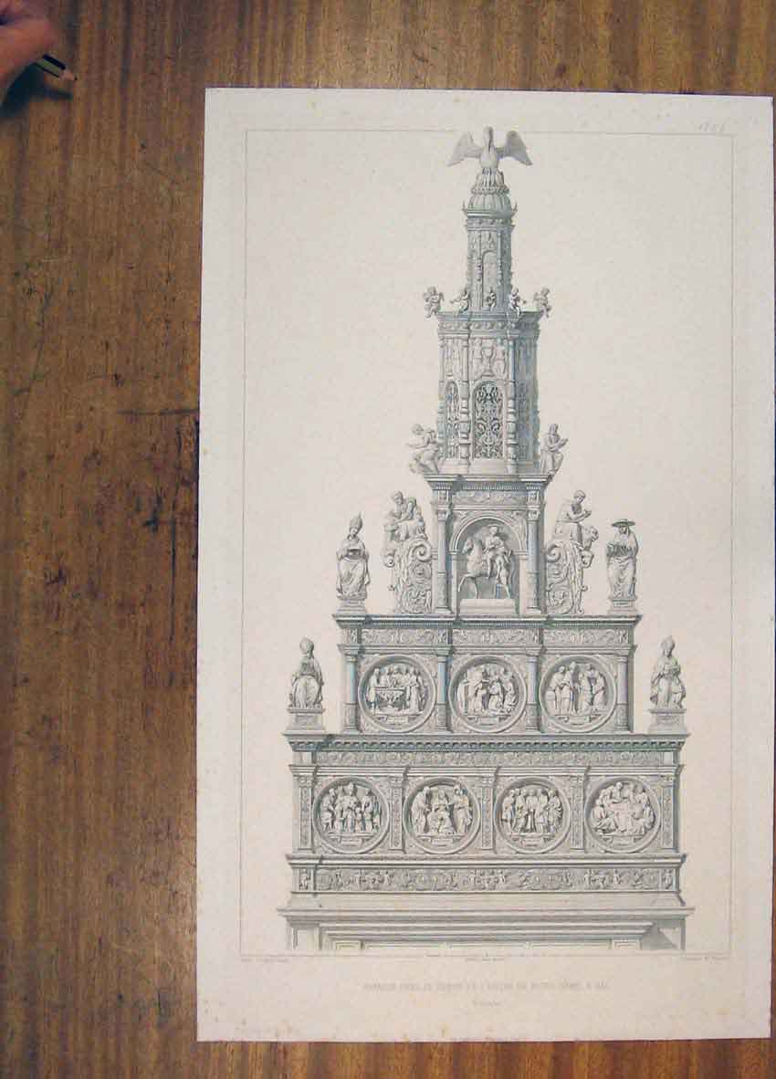 Print C1858 Sculpture Notre Dame Hall Belgique France 406811 Old Original
