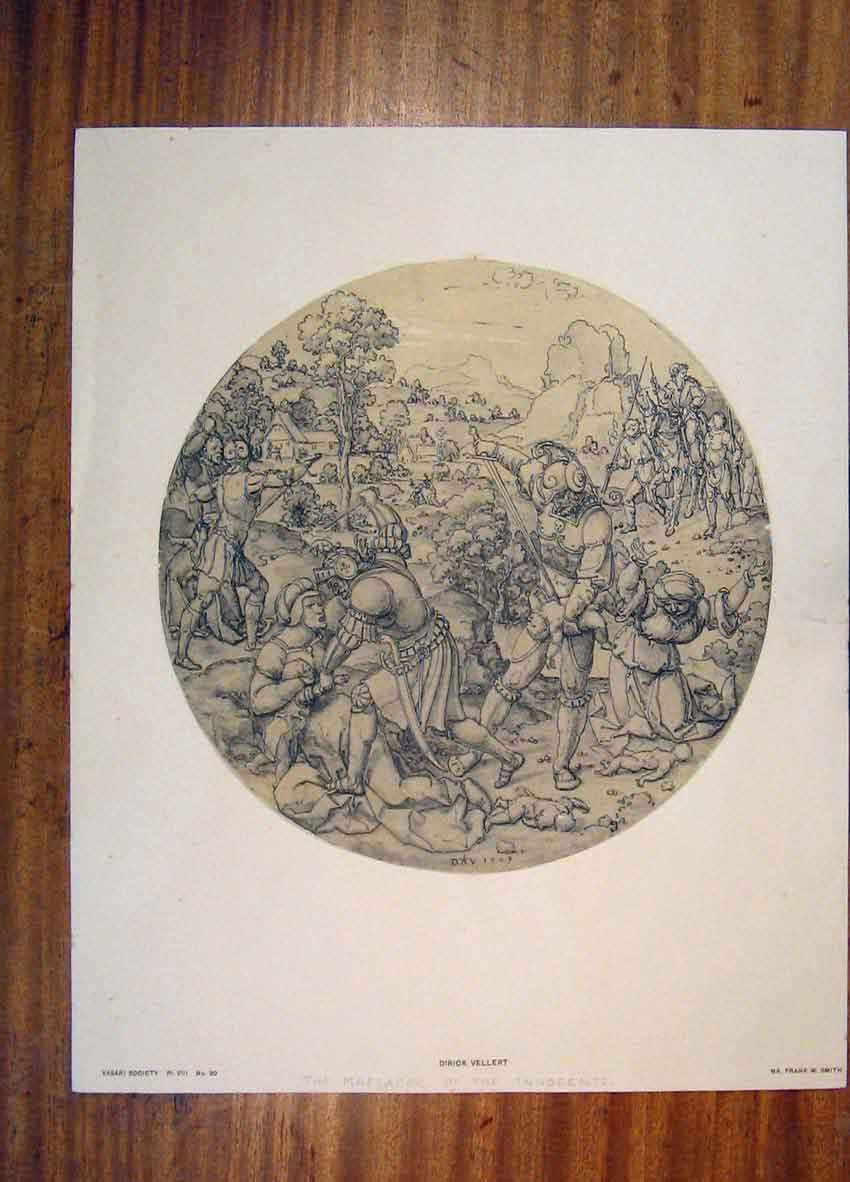 Print Dirick Vellert Massacre Innocents C1528 766811 Old Original