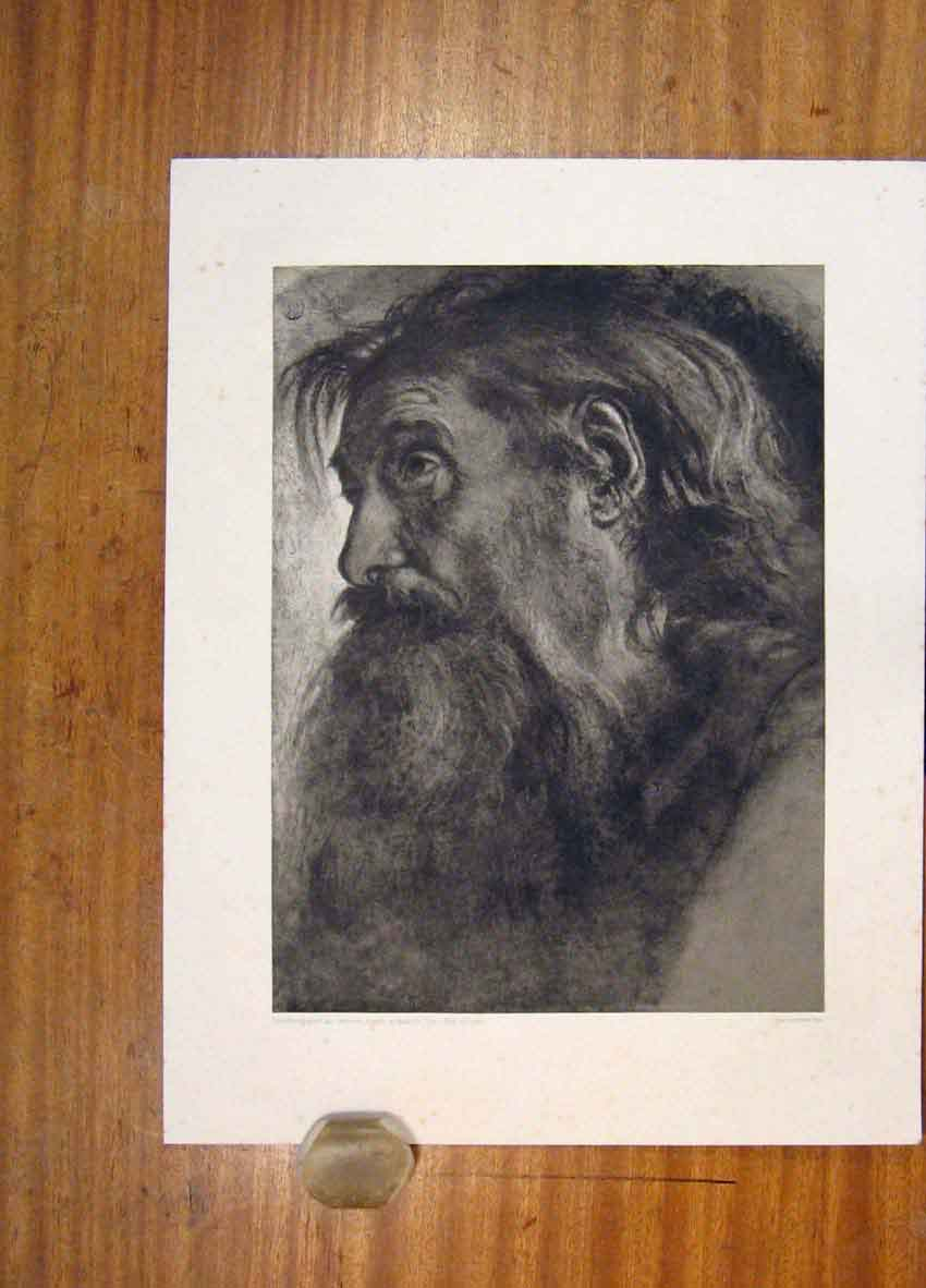 Print Fine Art Mans Portrait C1901 Face 986811 Old Original