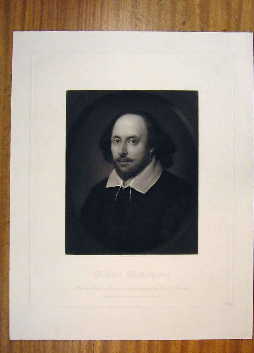 Print William Chakespeare Poet Artist Portrait 106811 Old Original