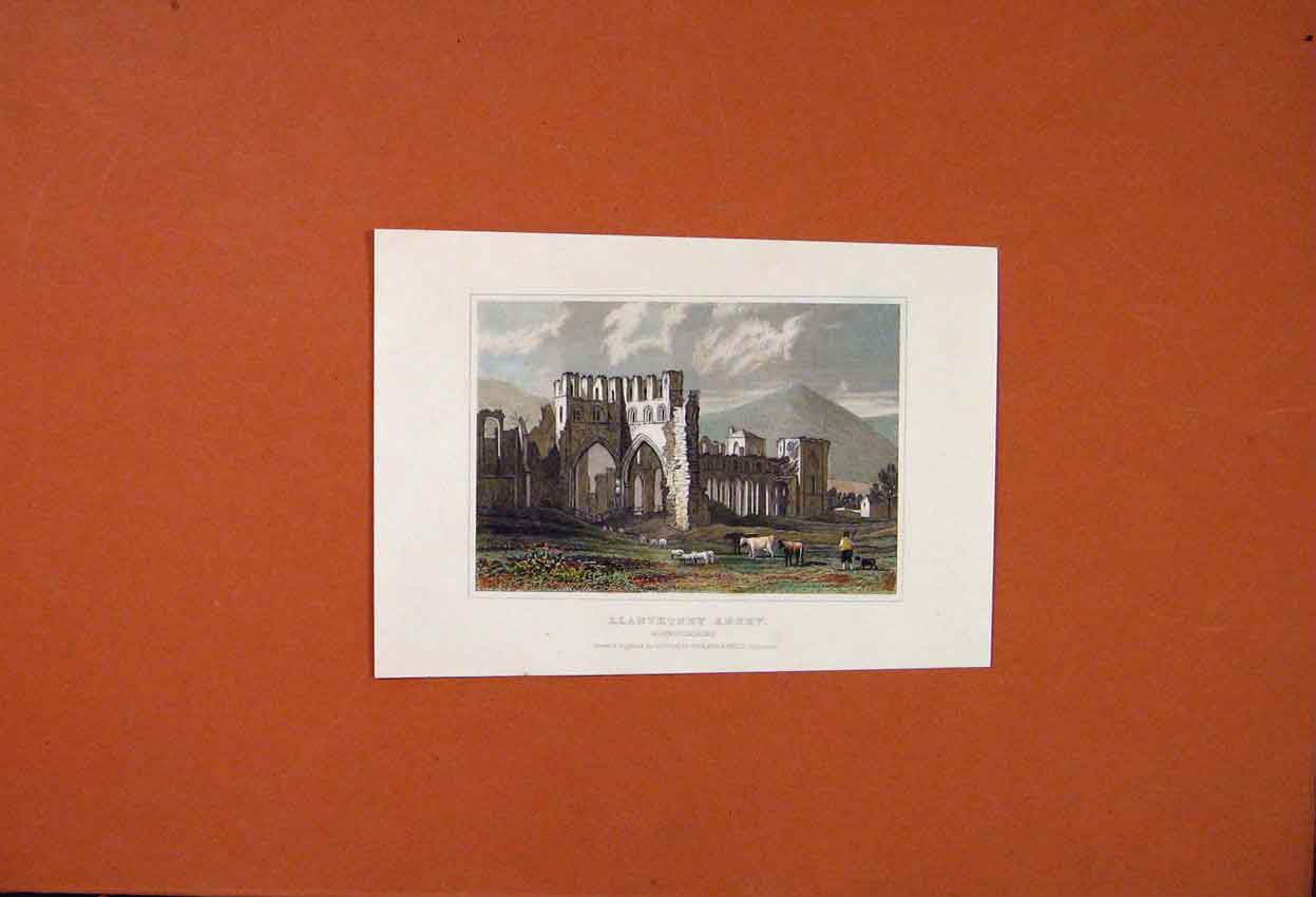 Print Llanthoney Abbey Monmouthshire Engraving Color 156821 Old Original