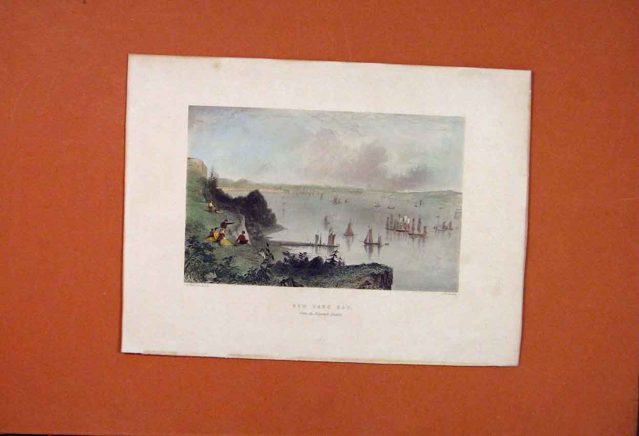 Print Hand Colored New York Bay Sail Boat Lake 566821 Old Original