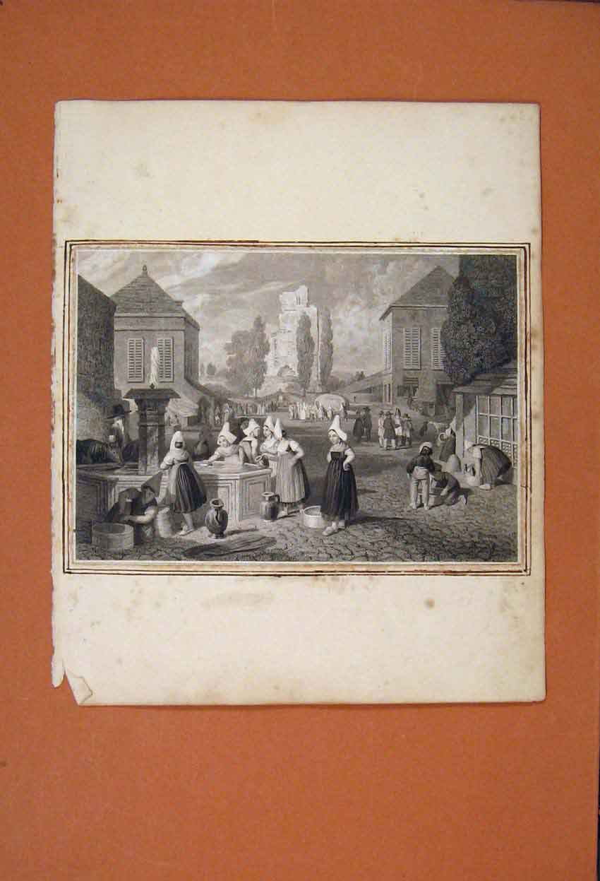 Print City Centre Town Water Fountain Washing Drinking 946821 Old Original