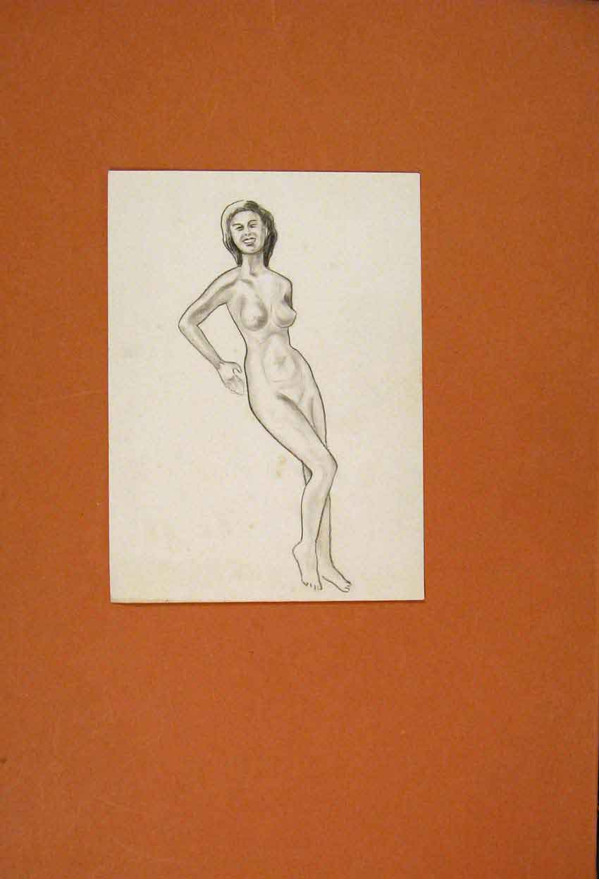 Print Naked Woman Sketch Drwaing Innocent Beauty Fine Art 126831 Old Original