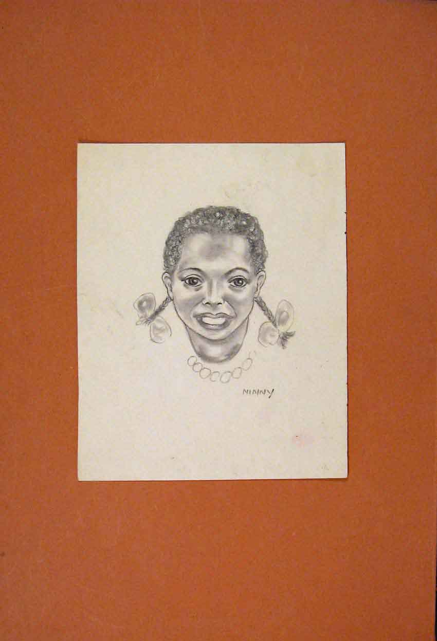 Print Ninny Portrait Fine Art Sketch Drawing 196831 Old Original