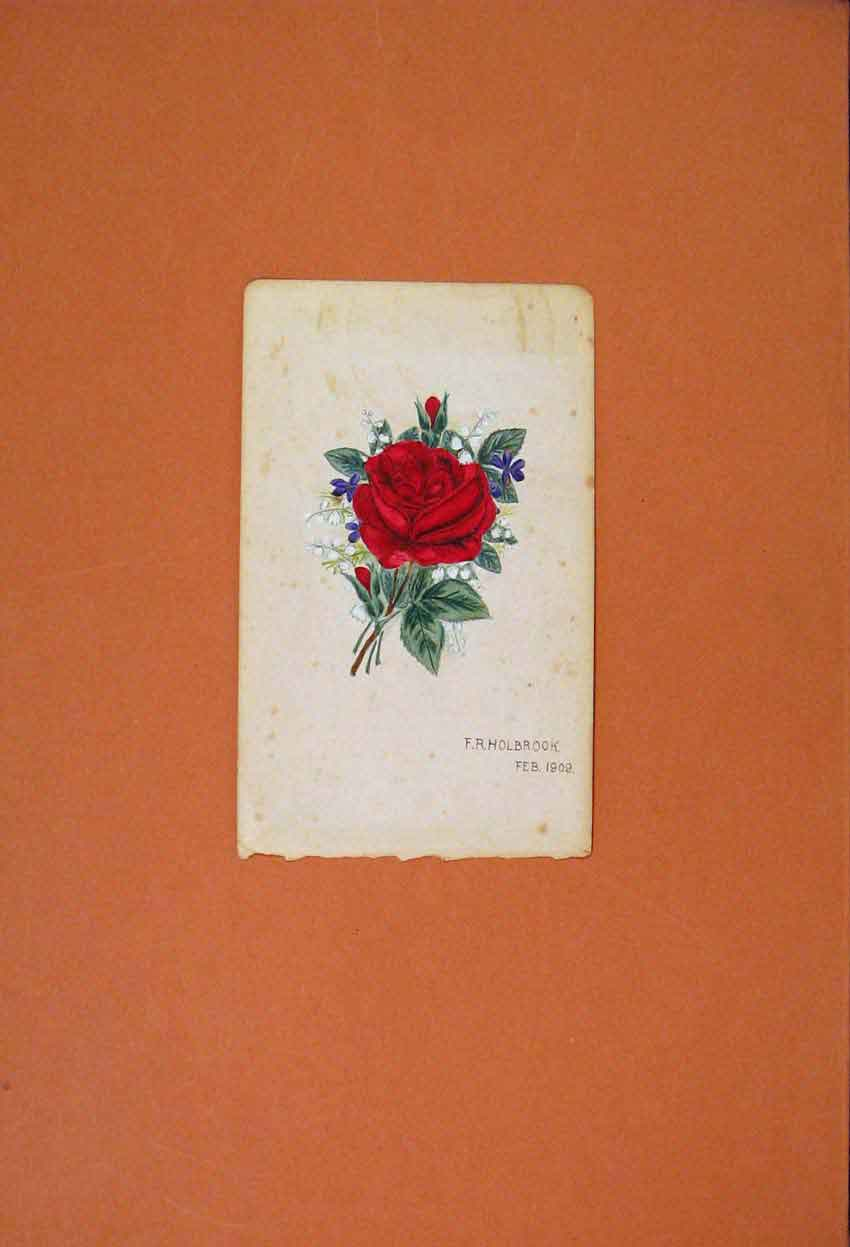 Print C1909 Rose Painting Sketch Drawing Color Fine Art 306831 Old Original