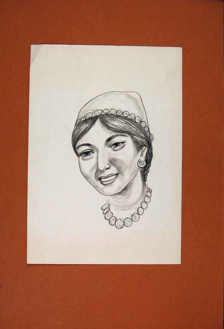 Print Portrait Face Lady Maid Sketch Drawing Fine Art 466831 Old Original