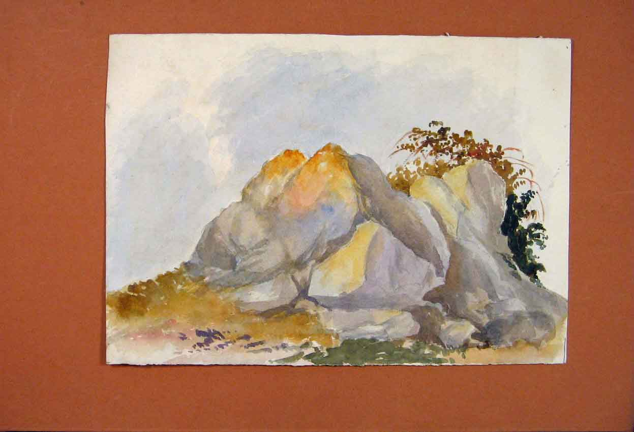 Print Rocks Mountain Painting Fine Art Color Water 516831 Old Original