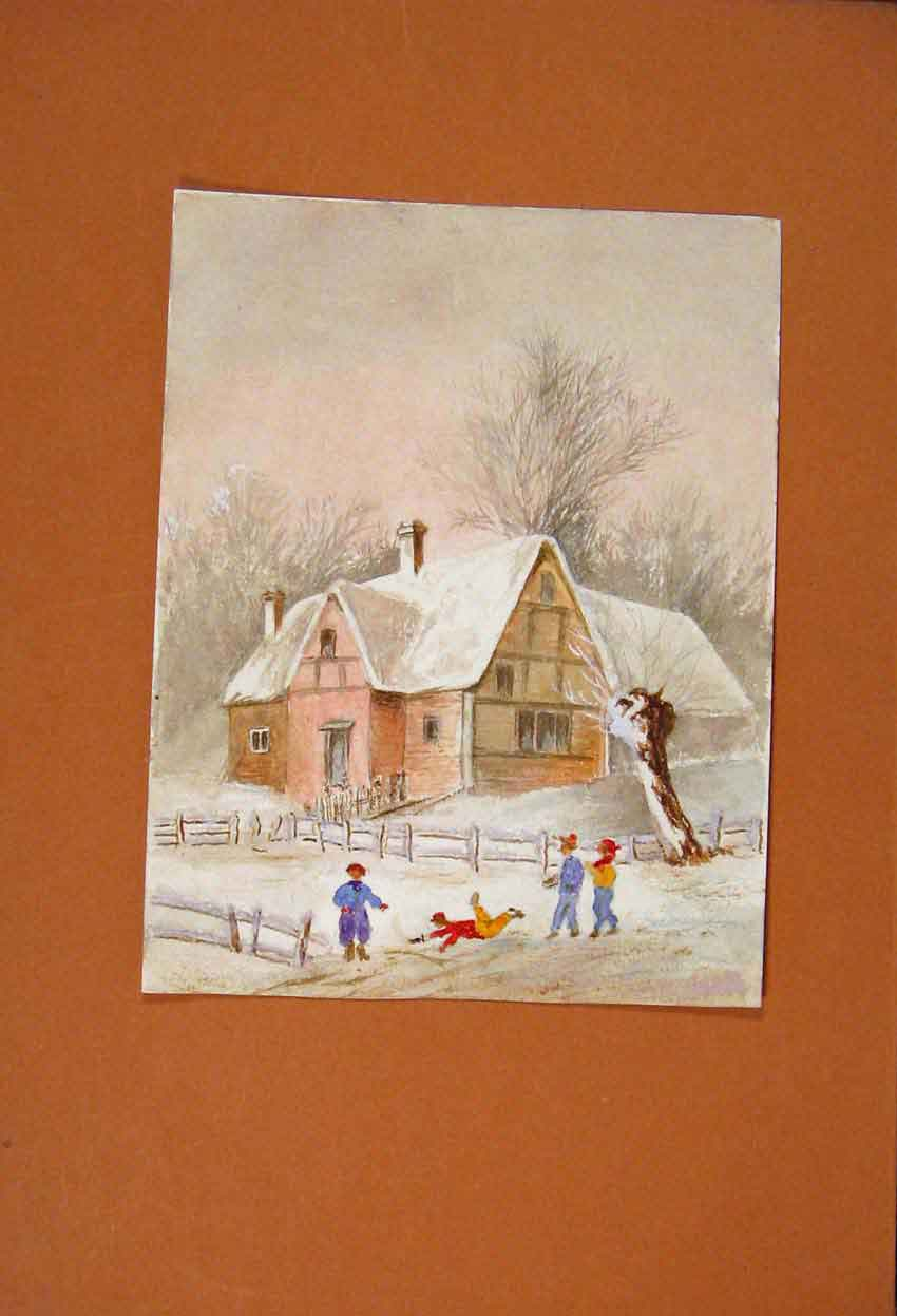 Print School Snow Children Fight Play Watercolor Drawing 676831 Old Original
