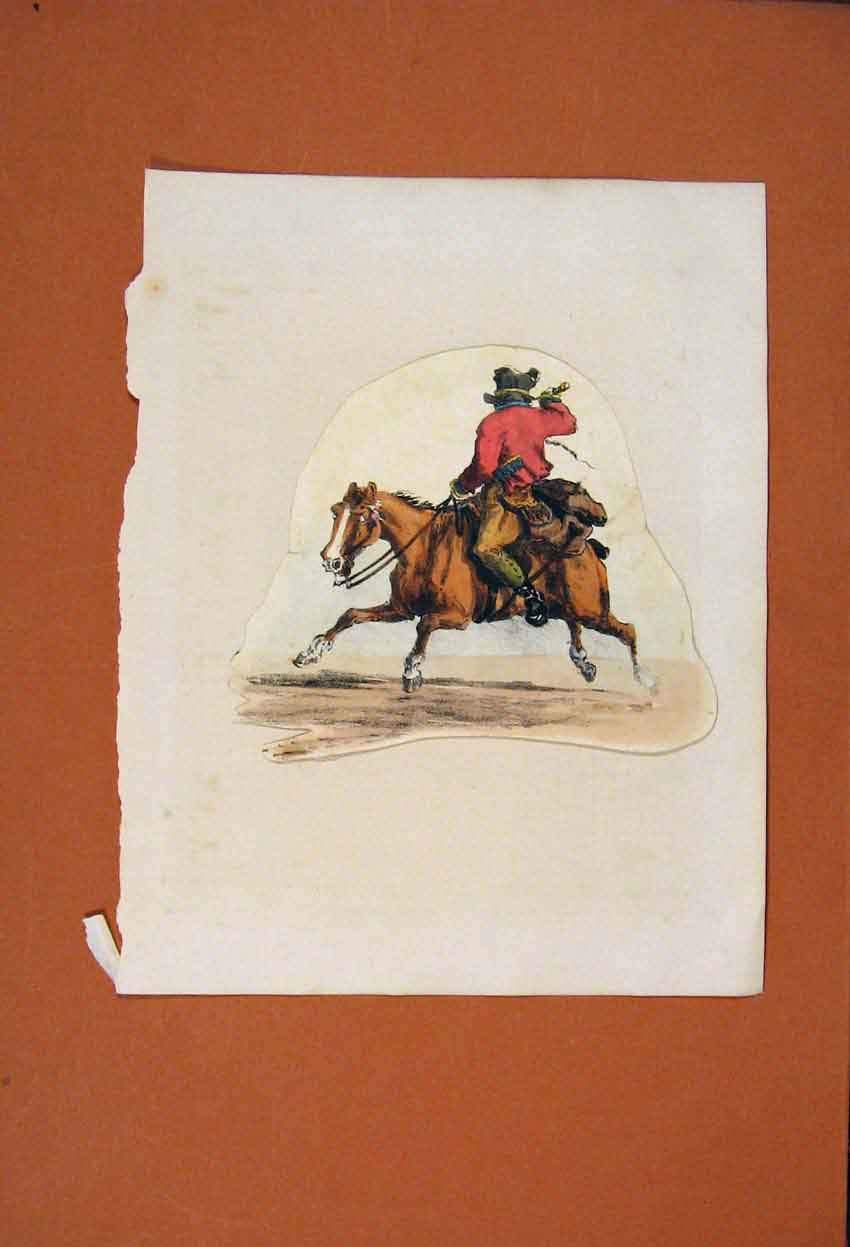 Print Horse Riding Cowboy Sketch Drawing Color Fine Art 186831 Old Original