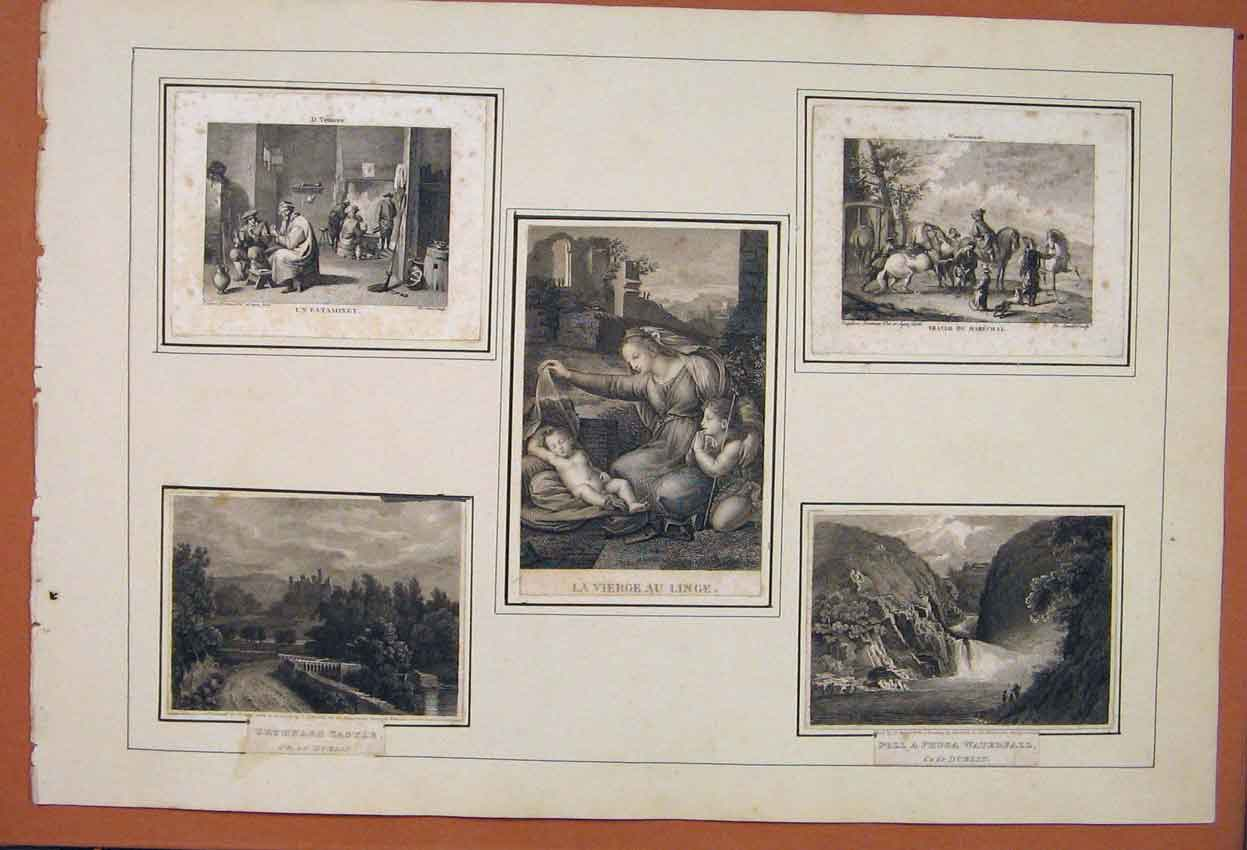 Print French Scrap Book Pictures Castle Vierge Waterfall Art 226831 Old Original