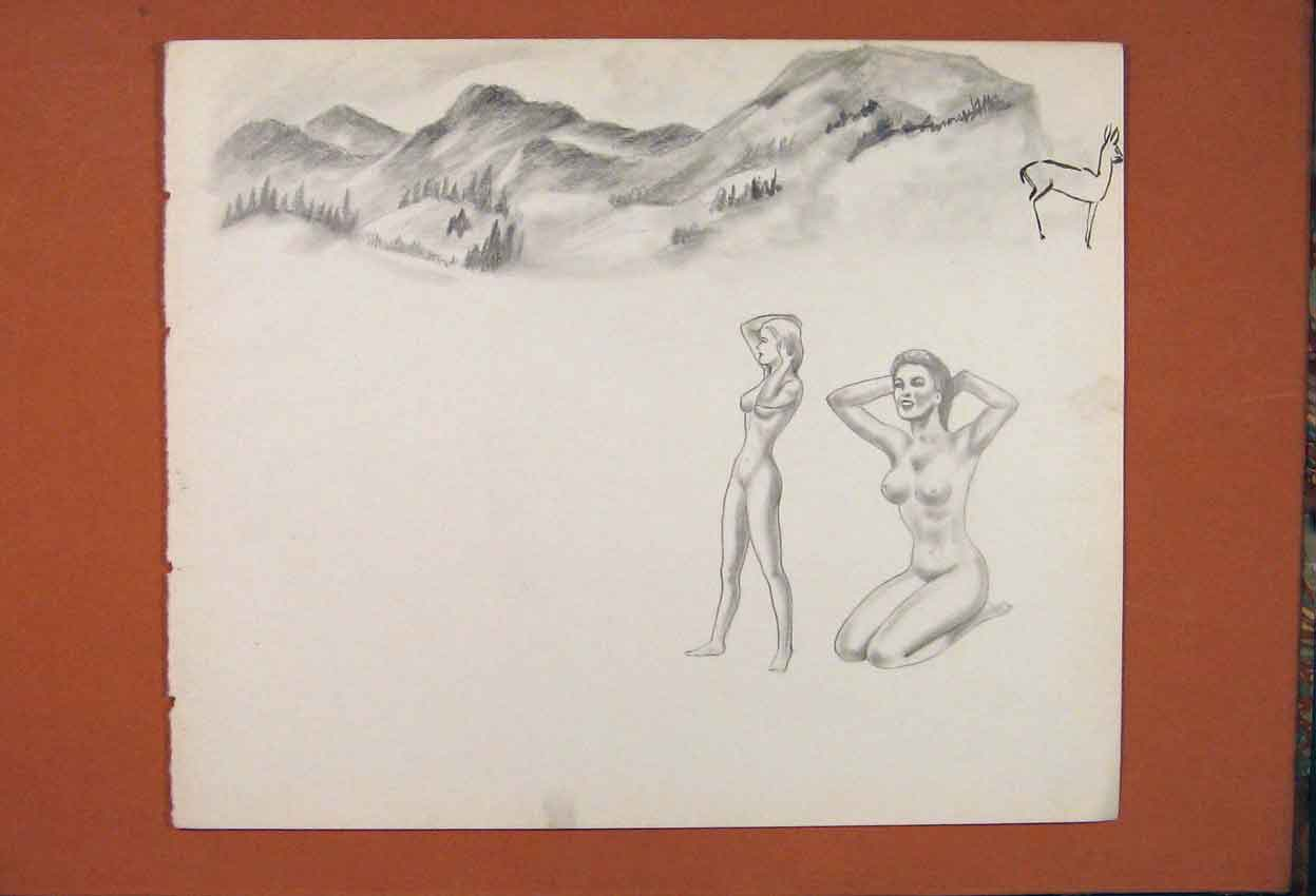 Print Lady Fine Art Sketch Drawing Naked Pencil 416841 Old Original