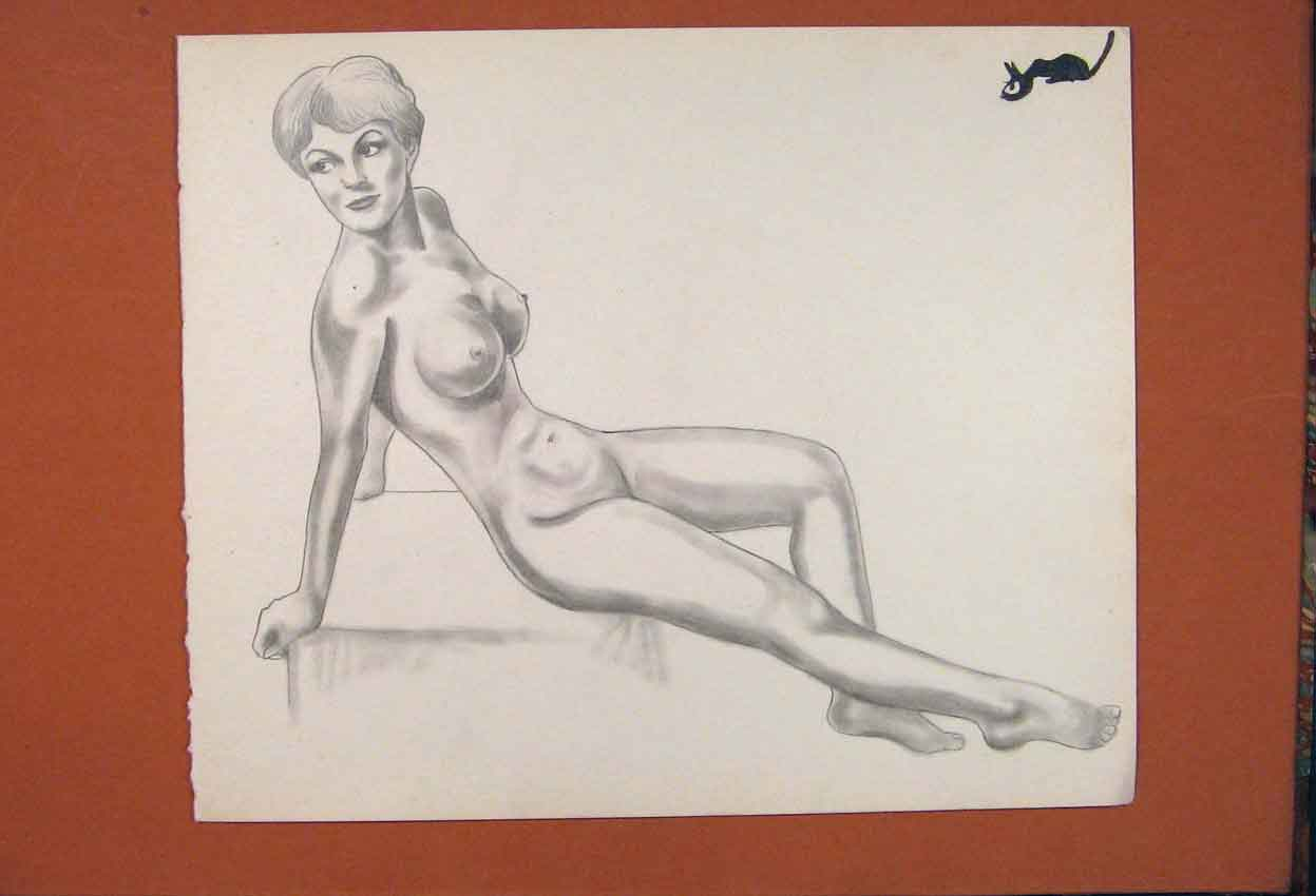 Print Sketch Drawing Fine Art Pencil Nake Lady Woman 466841 Old Original