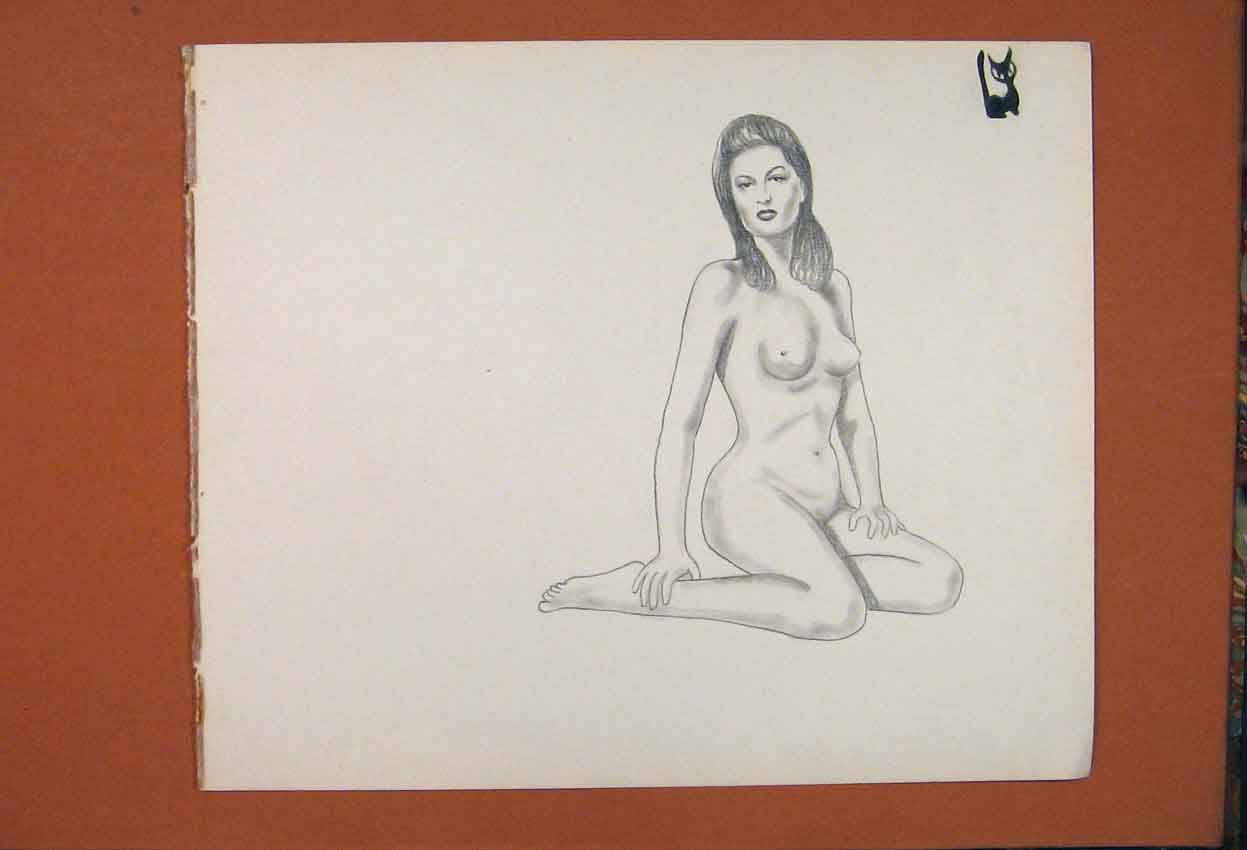 Print Lady Woman Naked Pose Art Drawing Sketch 506841 Old Original