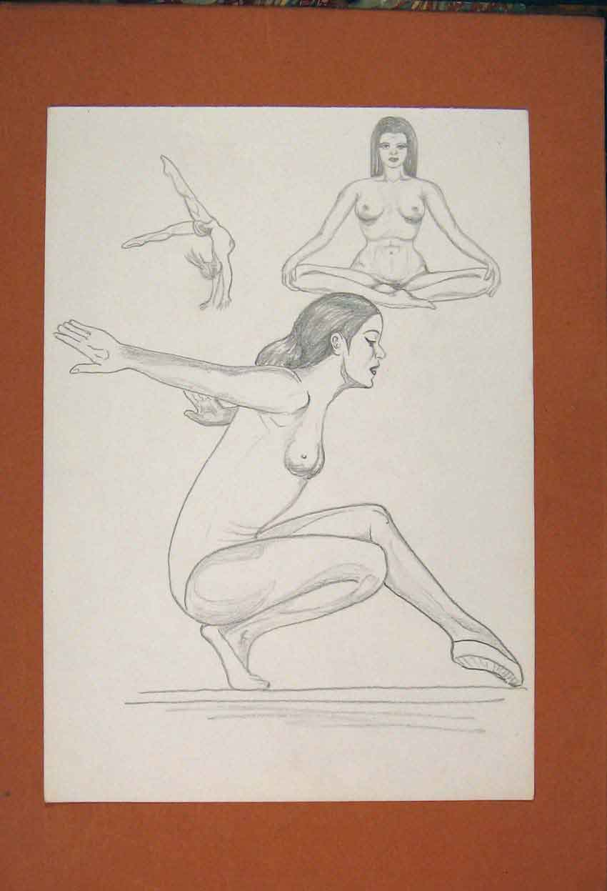 Print Gymnastics Lady Practise Exercise Art Sketch 696841 Old Original