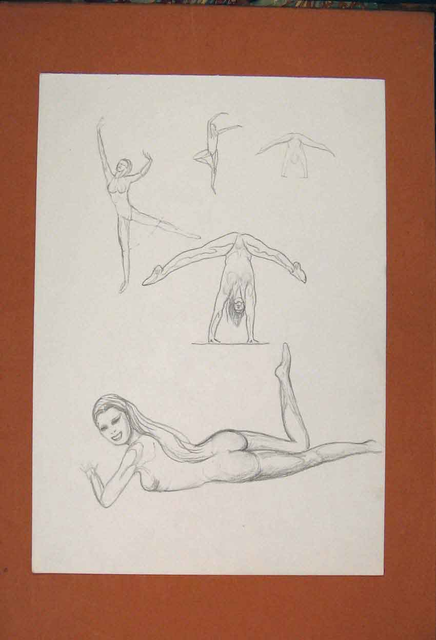 Print Lady Exercise Practise Gymnastic Sketch Drawing 706841 Old Original