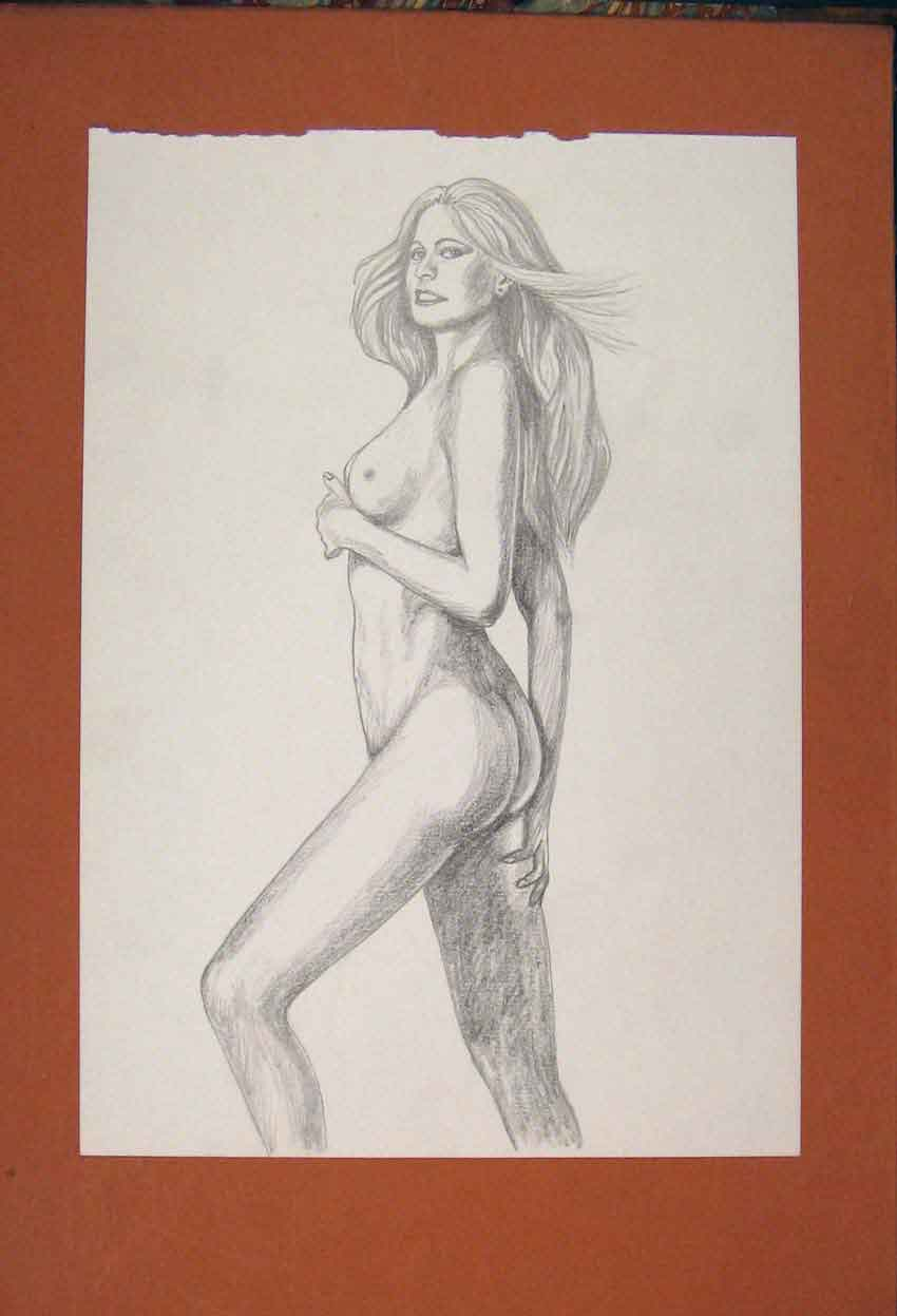 Print Lady Sketch Drawing Pencil Fine Art Woman 836841 Old Original
