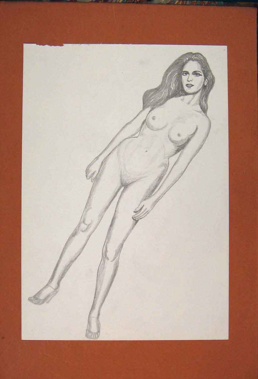 Print Lady Naked Drawing Fine Art Pencil Sketch 846841 Old Original