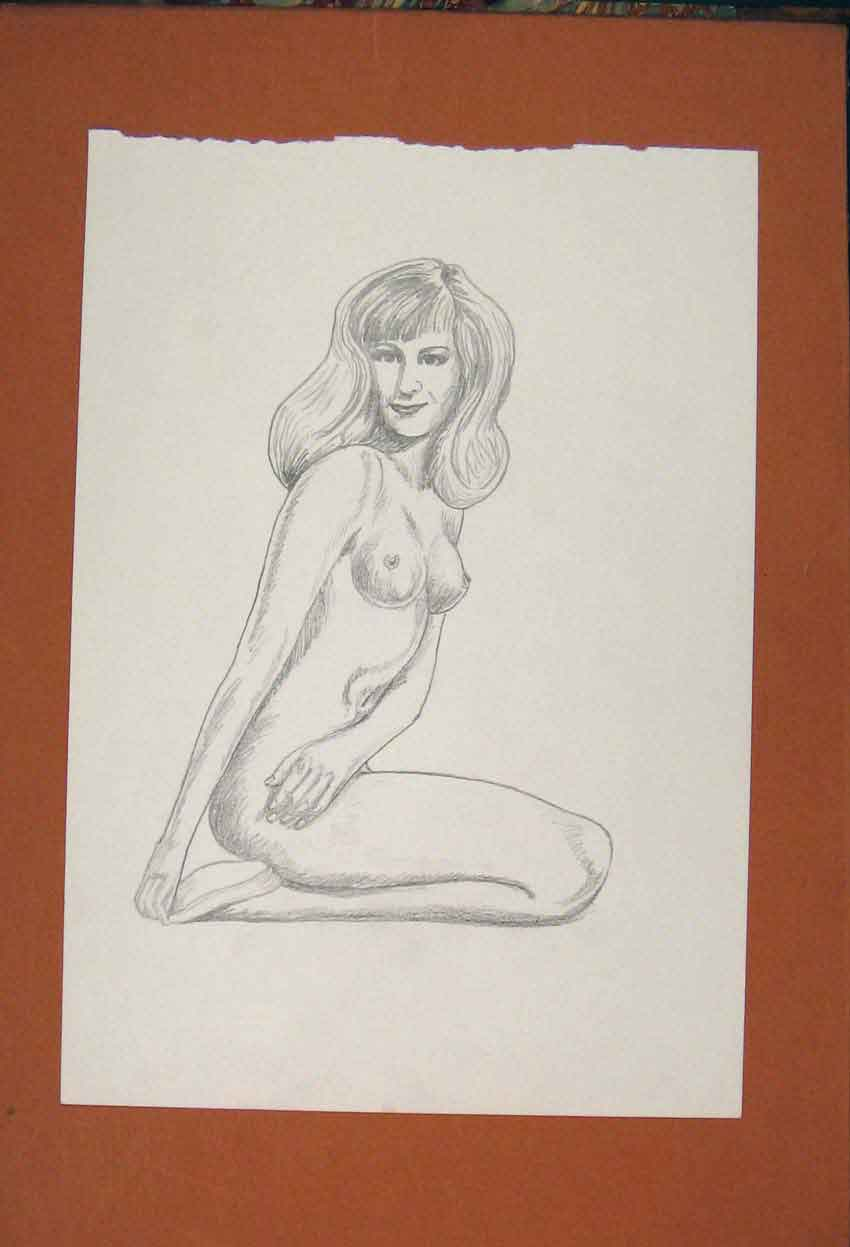 Print Lady Sketch Woman Naked Drawing Pencil Fine Art 936841 Old Original