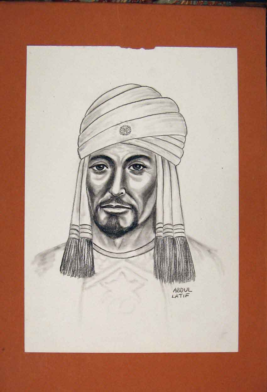 Print Abdul Latid Facial Portrait Sketch Fine Art Drawing 956841 Old Original