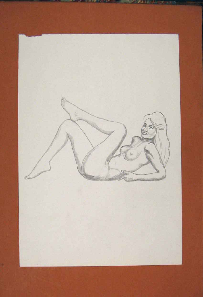 Print Sketch Drawing Naked Lady Posing Fine Art 976841 Old Original