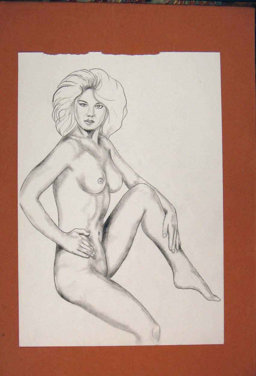 Print Lady Posing Naked Pencil Sketch Drawing Fine Art 016841 Old Original