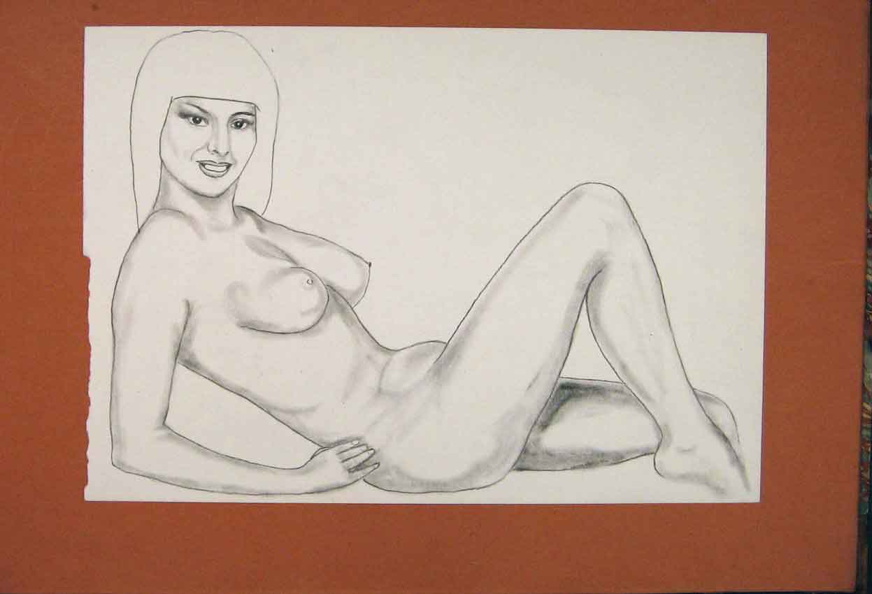 Print Naked Sketch Woman Fine Art Drawing Pencil 036841 Old Original