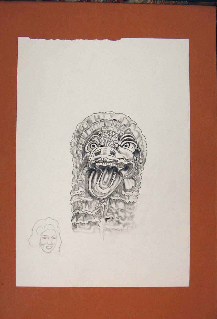 Print Mask Dragon Mystical Fine Art Sketch Drawing 046841 Old Original