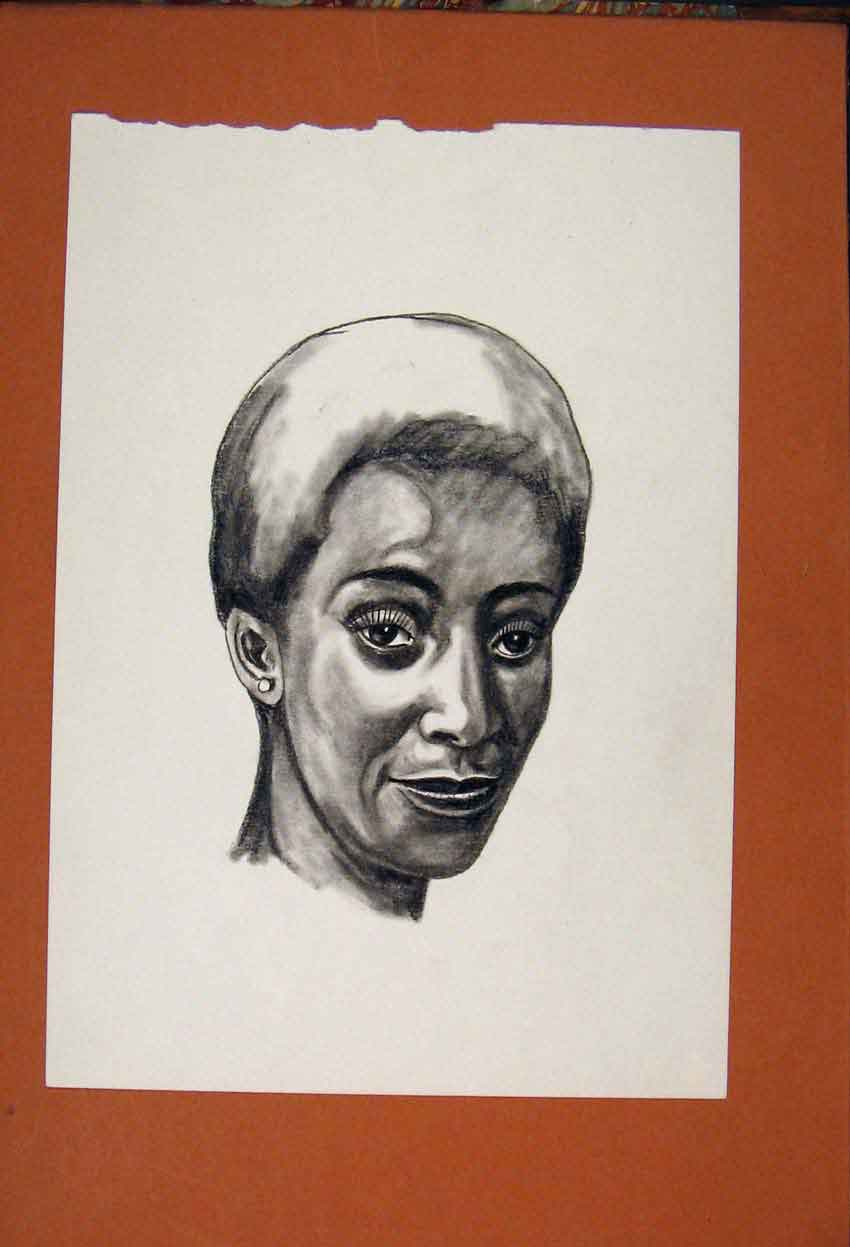 Print Face Portrait Lady Fine Art Sketch Drawing 056841 Old Original
